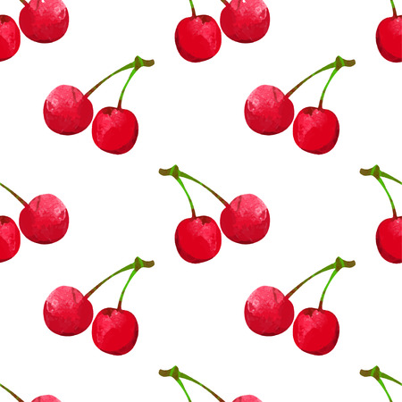 Seamless pattern with watercolor berry cherry. Endless repeating print background texture. Fabric design. Wallpaper
