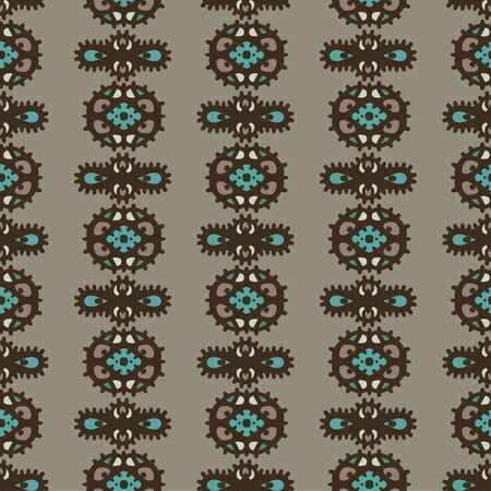 Abstract ethnic seamless pattern. Floral background texture. Endless repeating print. Fabric design. Wallpaper - vector Illustration
