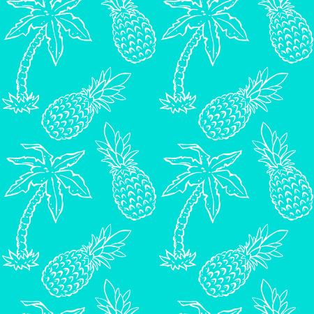 熱帯の椰子の木とパイナップルのシームレスなパターン。抽象的なフローラル背景の繰り返し。無限印刷テクスチャです。ファブリックの設計。壁