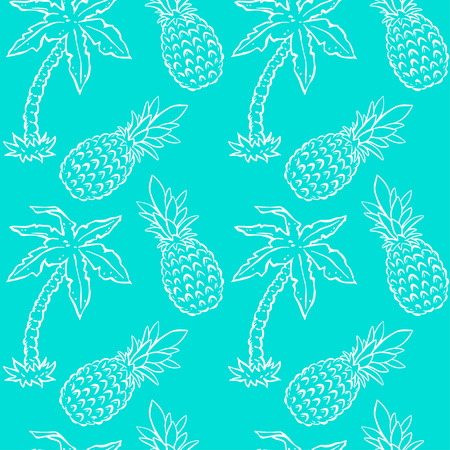 Seamless pattern with tropical coconut palm trees and pineapples. Abstract floral repeating background. Endless print texture. Fabric design. Wallpaper - vector Ilustração