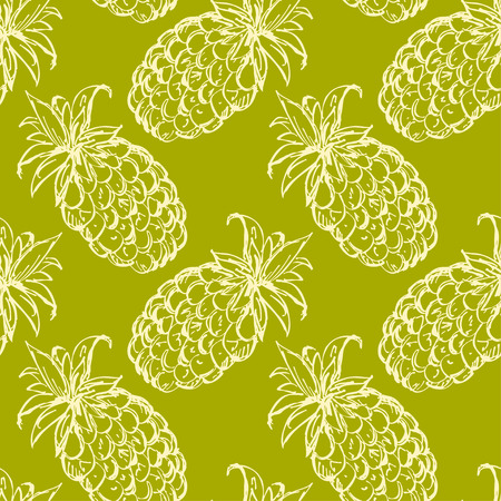 Seamless pattern with pineapples. Abstract floral repeating background. Endless print texture. Fabric design. Wallpaper - vector Illustration