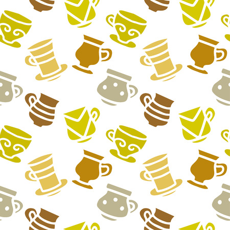 Seamless pattern with silhouettes tea cups, coffee cups. Repeating print background texture. Fabric design. Wallpaper - vector