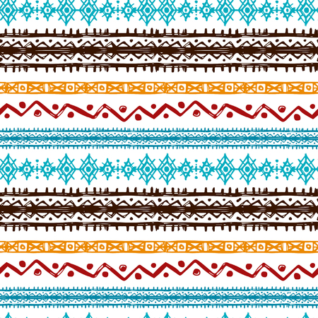 Tribal art ethnic seamless pattern. Folk abstract geometric repeating background texture. Fabric design. Wallpaper - vector