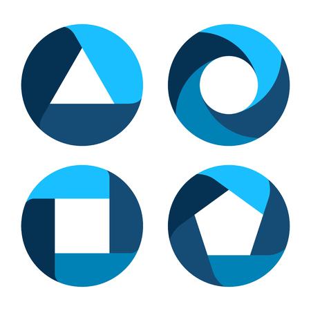 Définissez des bannières d'options de modèle d'entreprise. Processus cyclique. Diagramme. Flèches circulaires. Logo de conception abstraite. Logotype art - vecteur