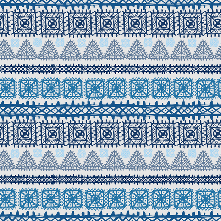 Tribal art ethnic seamless pattern. Folk abstract geometric repeating background texture in Fabric design.