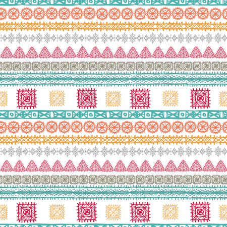 Tribal art ethnic seamless pattern. Folk abstract geometric print. Repeating background texture. Fabric design. Wallpaper - vector illustration. Illustration
