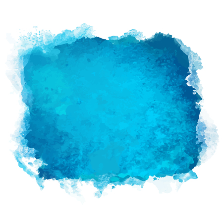Watercolor blue square stain isolated on a white background - vector Illustration
