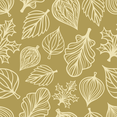 Abstract ornamental seamless pattern with leafs. Floral repeating background. Endless print texture. Fabric design. Wallpaper - vector Stock Illustratie