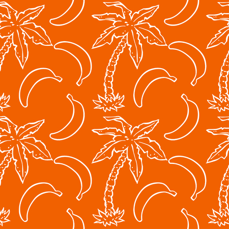 Seamless pattern with tropical coconut palm trees and bananas.