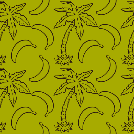 Seamless pattern with tropical coconut palm trees and bananas. Abstract floral repeating background.