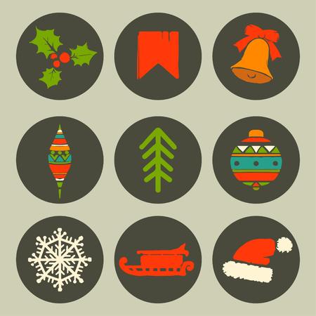 Holidays vintage Christmas circle flat cartoon icons set isolated