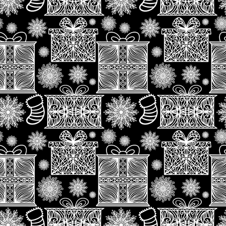 Hew year and Christmas seamless pattern with snowflake, gift box, stocking. Abstract holidays ornament. Repeating print background texture. Fabric design. Wallpaper