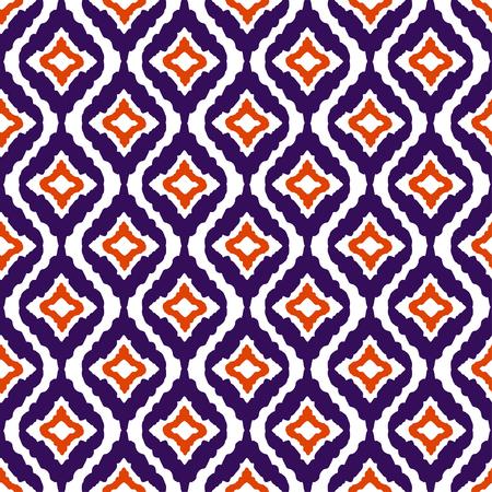Abstract tribal art ethnic seamless pattern. Ikat. Folk repeating background texture. Geometric print. Fabric design. Wallpaper Illustration