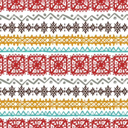 Tribal art ethnic seamless pattern. Folk abstract geometric print. Repeating background texture. Fabric design. Wallpaper
