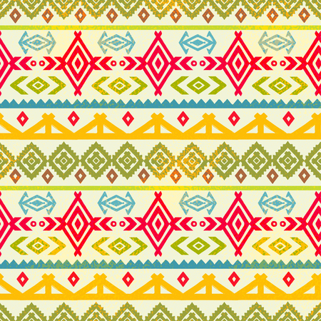Tribal art ethnic seamless pattern. Folk abstract geometric repeating background texture. Fabric design. Wallpaper illustration.