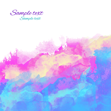 Colorful watercolor background with waves and space for text. Illustration
