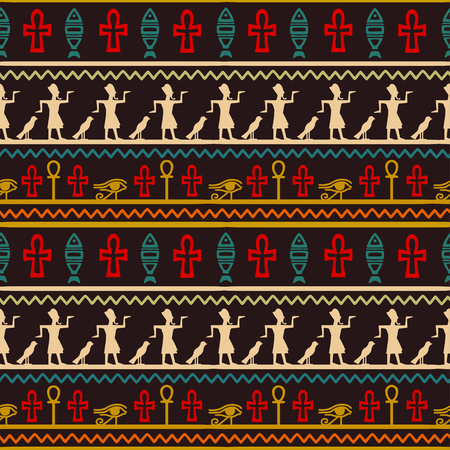 Tribal art Egyptian vintage ethnic seamless pattern. Egypt borders folk abstract repeating background texture, fabric design wallpaper. Illustration