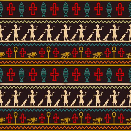 Tribal art Egyptian vintage ethnic seamless pattern. Egypt borders folk abstract repeating background texture, fabric design wallpaper. Иллюстрация