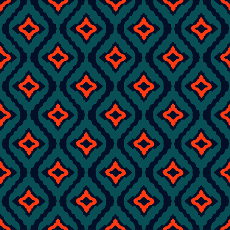 Abstract tribal art ethnic seamless pattern. Ikat. Folk repeating background texture. Geometric print. Fabric design. Wallpaper  Vettoriali