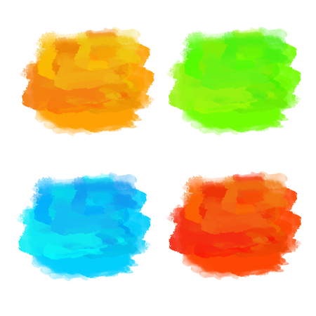 Set watercolor colorful rainbow blocks, paint stains isolated on a white background. Art abstract. Frames, brush strokes