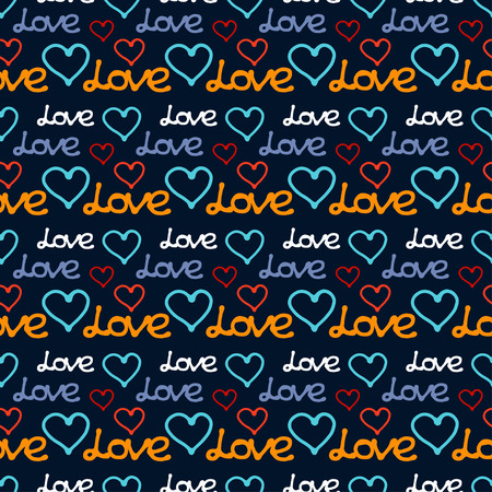 Holiday colorful valentines day seamless pattern with hearts. Calligraphy. Lettering. Fabric design. Wallpaper