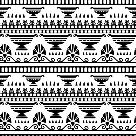 Tribal art Greece vintage ethnic seamless pattern. Greek borders. Folk abstract repeating background texture. Cloth design. Wallpaper