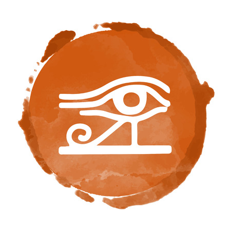 Tribal art Egyptian stamp, ethnic icon. Egypt eye of Horus. Watercolor coffee circle paint stain isolated on a white background. Abstract folk design Иллюстрация