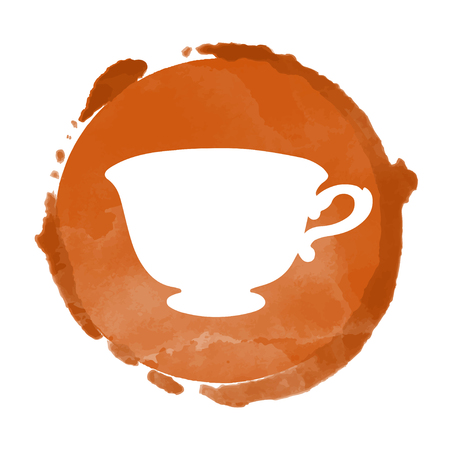 Watercolor coffee circle paint stain and cup silhouette. Stamp, icon isolated on a white background. Abstract art. Logo design Vettoriali