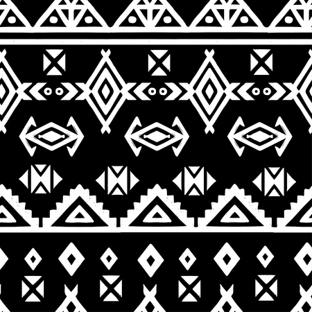 Tribal art ethnic seamless pattern. Folk abstract geometric repeating background texture.