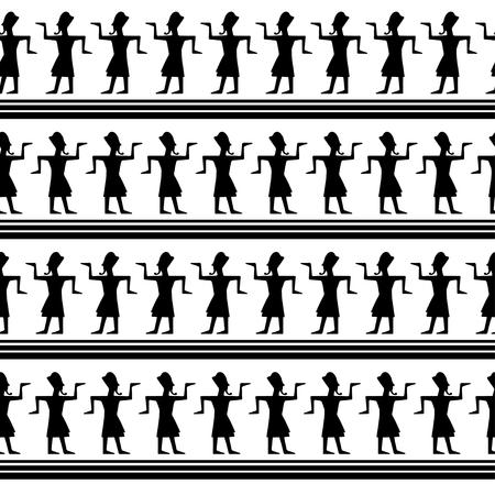 Arte tribale Modello senza cuciture etnico vintage egiziano. Struttura di ripetizione geometrica astratta piega del fondo. Design del tessuto. Sfondo