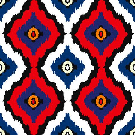 Abstract tribal art ethnic seamless pattern. Ikat. Folk repeating background texture. Geometric print.