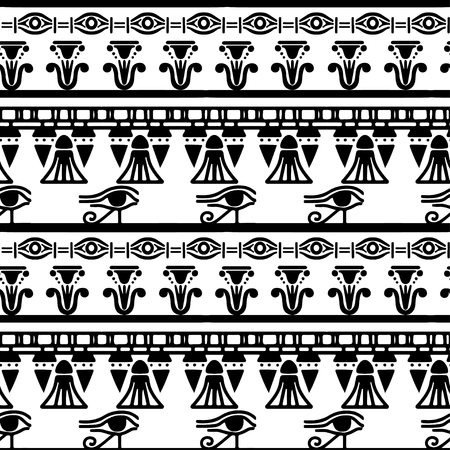 Tribal art Egyptian vintage ethnic silhouettes seamless pattern in black and white. Egypt borders. Folk abstract repeating background texture. Cloth design.