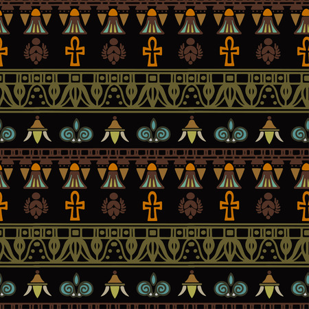Tribal art Egyptian vintage ethnic silhouettes seamless pattern. Egypt borders. Folk abstract repeating background texture.
