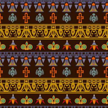 Tribal art Egyptian vintage ethnic silhouettes seamless pattern. Egypt borders. Folk abstract repeating background texture. Cloth design. Wallpaper Иллюстрация