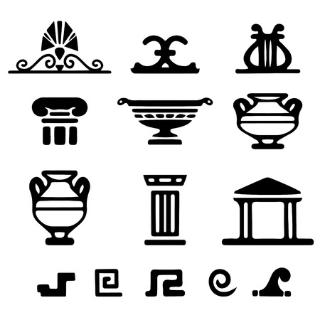 Tribal art Greek ethnic icons. Greece sketch cartoon hand drawn black silhouettes isolated on a white background. Vectores