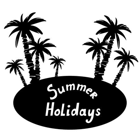 Eiland met kokospalmen zwart silhouet geïsoleerd op een witte achtergrond hand getrokken kunst illustratie. Frame, ruimte voor tekst