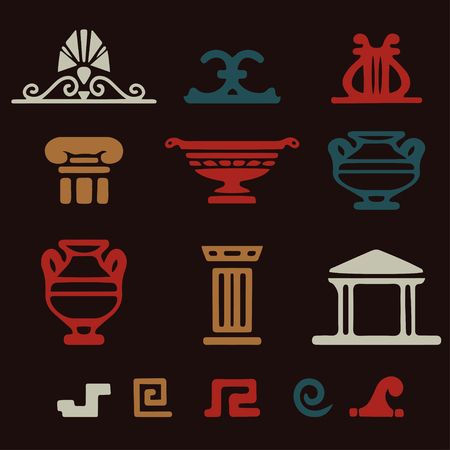 Tribal art Greek ethnic icons. Greece sketch cartoon hand drawn colorful silhouettes isolated on a dark background. Logo art design