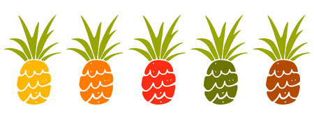 Pineapple colorful cartoon hand drawn set isolated on a white background. Icon. Art logo design