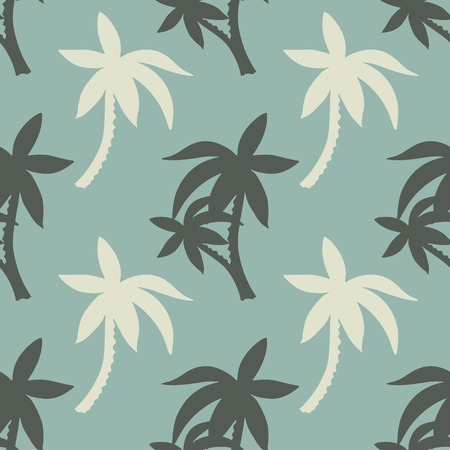 Exotic seamless pattern with silhouettes tropical coconut palm trees. Forest, jungle. Abstract nature hand drawn background texture. Cloth art design