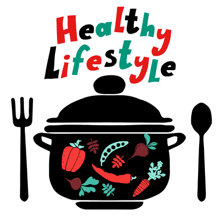 Healthy lifestyle background with icon pan, spoon, fork and vegetables silhouettes 矢量图像