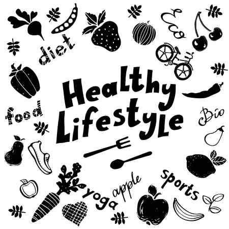 Healthy lifestyle funny icons black silhouettes set isolated on a white background Stock Illustratie