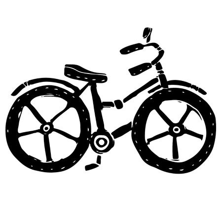 Baby bicycle black silhouette cartoon hand drawn illustration isolated on white background Stock Illustratie
