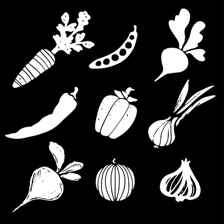 Vegetables silhouettes set, funny hand drawn icons isolated on a black background. Art logo design
