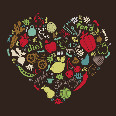 Healthy lifestyle icons design. Food background. Shape of heart isolated