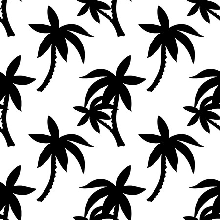 Exotisch naadloos patroon met silhouetten tropische kokospalmen. Bos, jungle. Abstracte aardhand getrokken textuur als achtergrond. Doek art design
