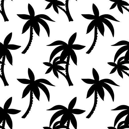 Modèle sans couture exotique avec des silhouettes de cocotiers tropicaux. Forêt, jungle. Texture de fond dessiné main nature abstraite. Conception d'art en tissu