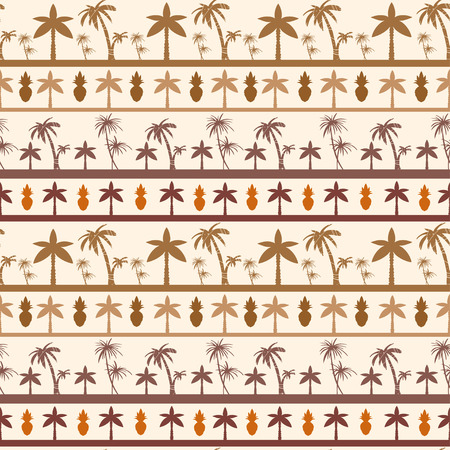 Exotic seamless pattern with silhouettes coconut palm trees and pineapples. Borders. Abstract tropical hand drawn background texture. Cloth art design Vector Illustratie