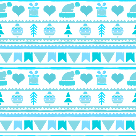 Holidays vintage Christmas seamless boarders design. Abstract silhouette new year ornament. Repeating pattern background. Winter texture