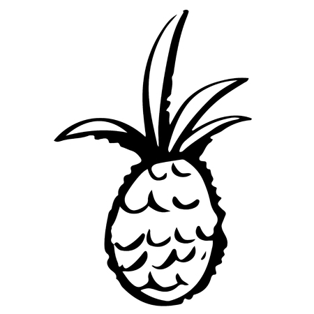 Pineapple cartoon sketch hand drawn illustration isolated on a white background. Icon, sign. Art logo design