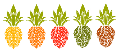 Pineapple colorful hand drawn set isolated on a white background. Icon. Art logo design